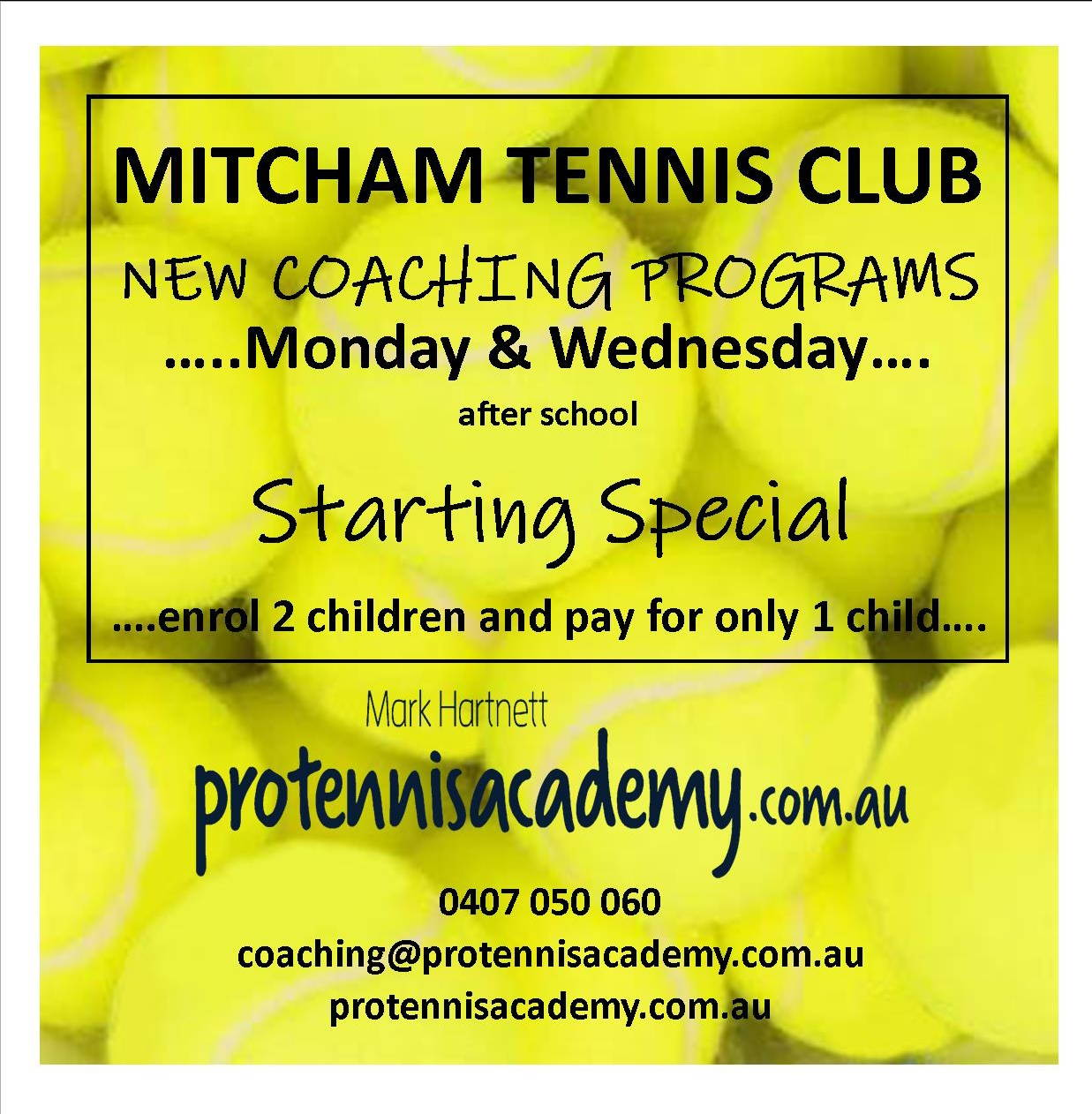 Starting Special – '2 for 1' Deal -Mitcham TC